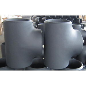 Black Coated Reducing Tee, 6 Inch x 4 Inch, Sch 80